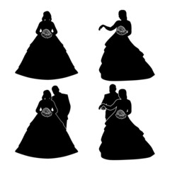Silhouettes of the bride and groom with a bouquet