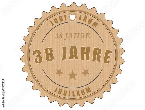 Foto op Plexiglas Retro je38 JubiläumsEtikett 38 - vintagedesign - 38 Jahre - g1938