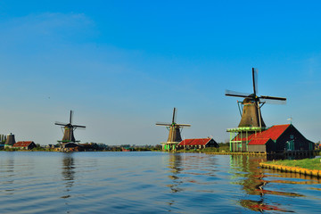 Dutch windmills in summer