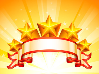 Ribbon and golden stars on bright background.