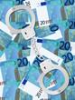 handcuffs on twenty euro background vertical