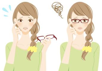 メガネをはずす メガネをかけた困る女性