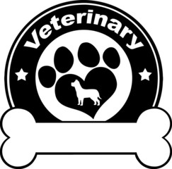 Veterinary Black Circle Label Design With Love Paw Dog And Bone