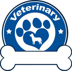 Veterinary Blue Circle Label With Love Paw Dog And Bone