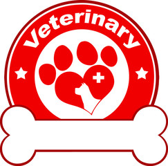 Veterinary Red Circle Label Design With Love Paw Dog