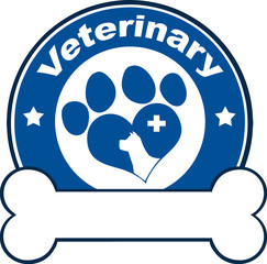 Veterinary Blue Circle Label With Love Paw Dog