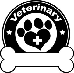 Veterinary Black Circle Label Design With Love Paw Print
