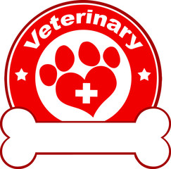 Veterinary Red Circle Label Design With Love Paw Print