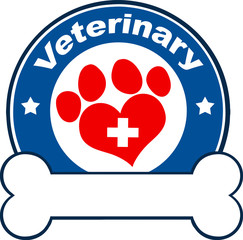 Veterinary Blue Circle Label Design With Love Paw Print