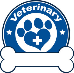Veterinary Blue Circle Label With Love Paw Print,Cross And Bone