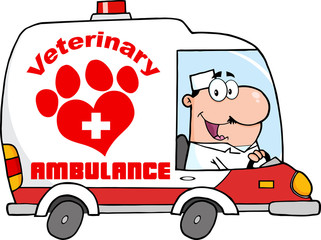 Doctor Driving Veterinary Ambulance.