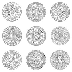 Set of hand drawn circles, vector logo design elements. Doodle