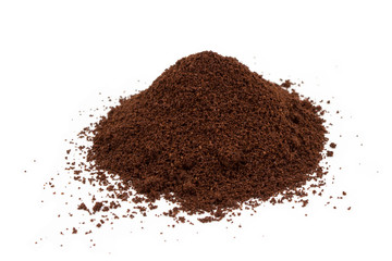 A pile of ground coffee isolated on white