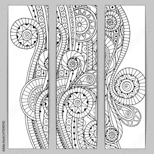 Abstract hand drawn ethnic pattern card set. © juliasnegi