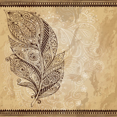 Artistically drawn, stylized, vector tribal graphic feather with