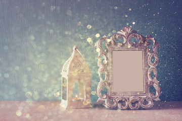 vintage antique classical frame and glitter lights backgrou