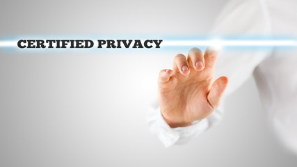 Hand Pointing Glowing Light with Certified Privacy