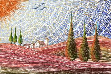 Tuscany landscape drawing