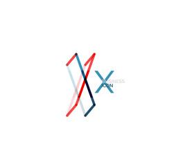 Minimal X font or letter logo design
