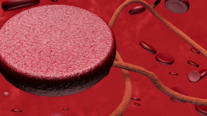 Microscopic Ebola Virus and Blood Cells 3D Animation