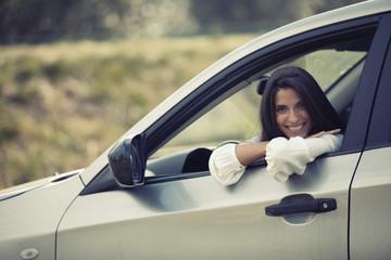 Car driver woman