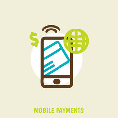 modern smartphone with processing of mobile payments from credit