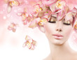 canvas print picture - Fashion Beauty Model Girl with Orchid Flowers Hair