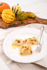 Ravioli with spicy butternut pumpkin filling