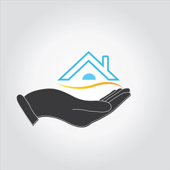 house icon hand concept of loan or real estate