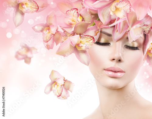 canvas print picture Fashion Beauty Model Girl with Orchid Flowers Hair