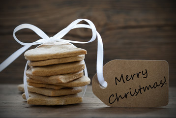 Ginger Bread Cookies with Label with Merry Christmas