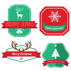 Christmas vintage labels ribbon elements