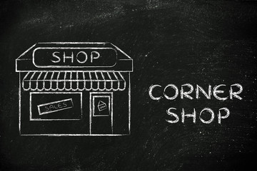 funny illustration of small corner shop