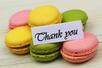 Thank you card with colorful macaroons