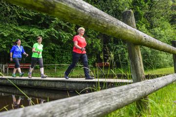 Drei Walkerinnen überqueren Holzsteg