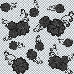 Seamless black lace fabric with flowers.