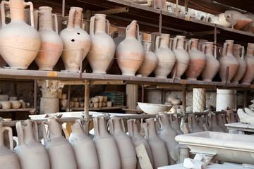 Pompeii antique pottery jugs.