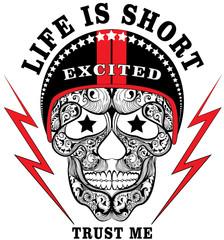 Skull Helmet Man Boy T shirt Design
