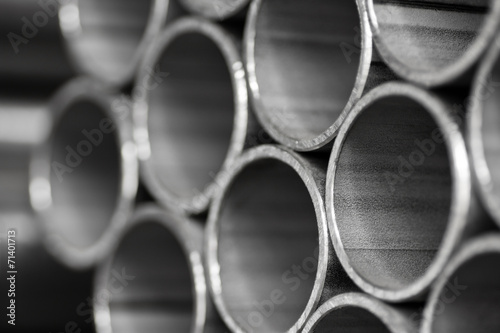 Poster Metal abstract background of metal pipe