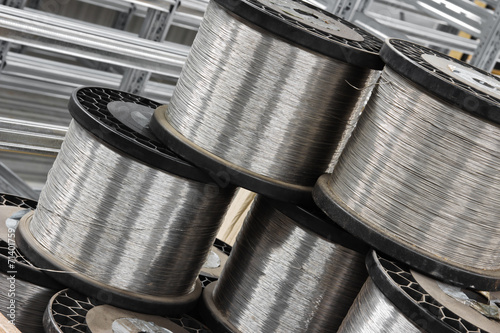 Foto op Plexiglas Metal close up steel wire coil