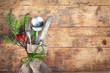 Leinwandbild Motiv rustikales Besteck - Weihnachtsgedeck