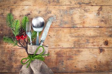 rustikales Besteck - Weihnachtsgedeck