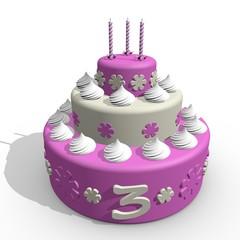 Verjaardag cake voor meisje van 3 jaar