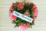 Happy Anniversary card with heart shaped pink roses bouquet