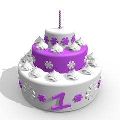 Eerste verjaardag slagroom taart voor baby meisje