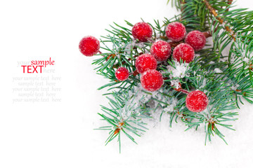 fir branches with Christmas decorations, isolated over white
