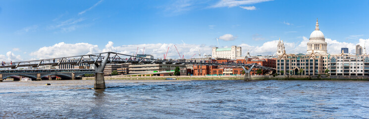 Millenium bridge and St Paul cathedral panorama in London