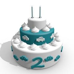 tweede verjaardag taart jongen met auto's
