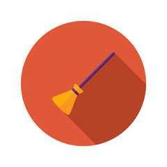 Halloween Witch Broom Flat Icon