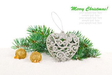 xmas decoration with copy space, isolated over white